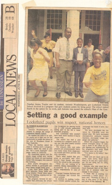newspaper article about Anthony Weatherspoon getting award for Setting a Good Example, SAGE, based on The Way To Happiness book by L Ron Hubbard