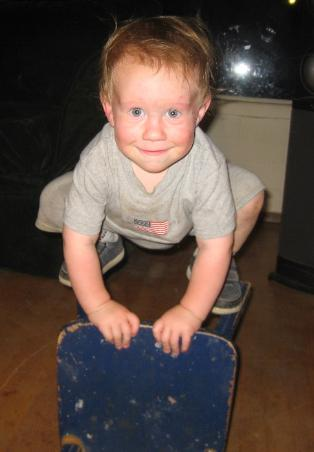 This is Dylan balancing on his baby chair March 2008