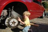 Dylan working on grandpa's car