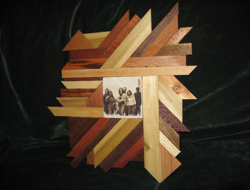 Exotic wood art by Carl displaying a picture on Tile by Mel