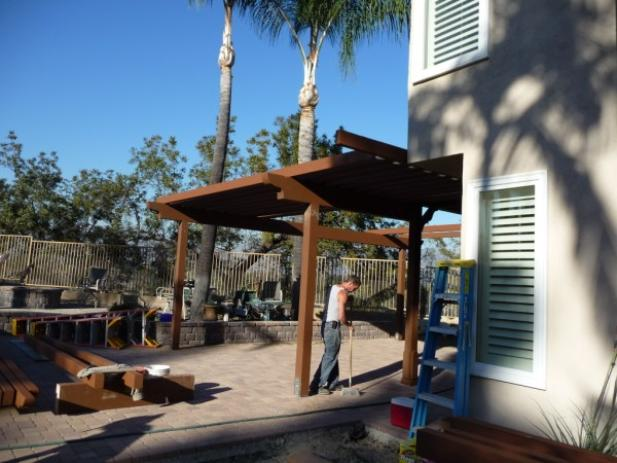 Pergola under construction San Dimas Ca. Constructed by Brandon and Carl